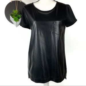 J. Crew Faux Leather Front Pocket Tee XS